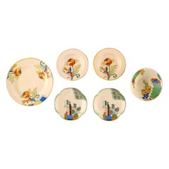 Six Art Deco Bowls, Dishes and Plates in Porcelain, Royal Doulton, England