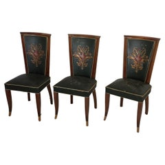 Six Art Deco Chairs in Green Leather Original Condition