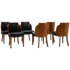Six Art Deco Cloud Dining Chairs by Harry & Lou Epstein, England Black with Burl