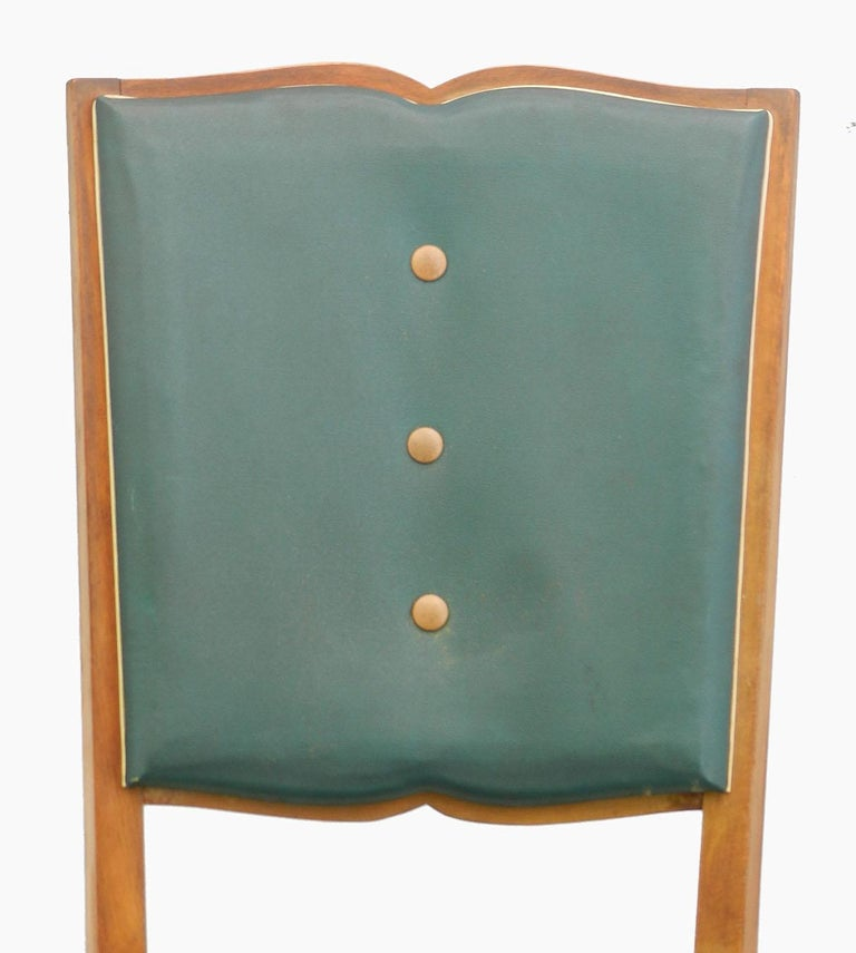 Six Art Deco dining chairs French midcentury, circa 1930-1940 Great shaped classic moustache backs The price shown is for the chairs in their original condition as they are right now, if you wish to have the restoration work undertaken locally We