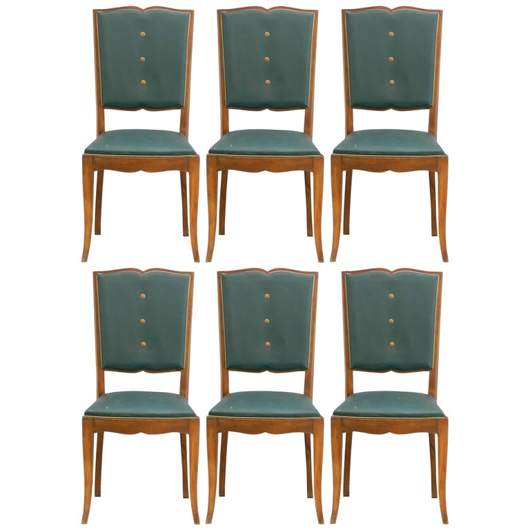 Six Art Deco Dining Chairs French Moustache Back to Restore or Customized