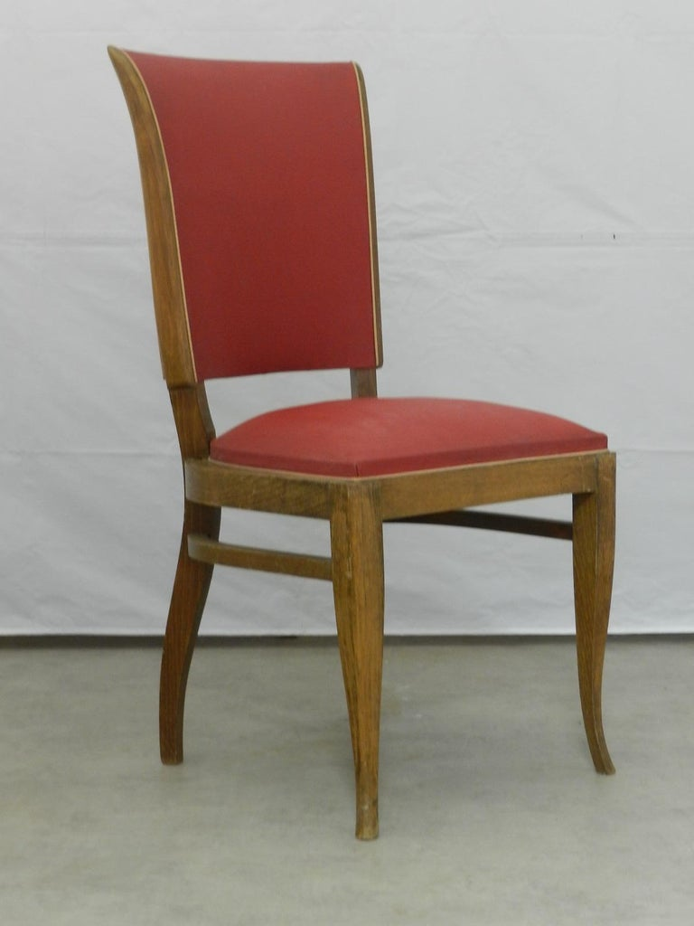 Set of six French Art Deco dining chairs, circa 1930 Recover or restore Original vintage condition Frames are sound and solid.