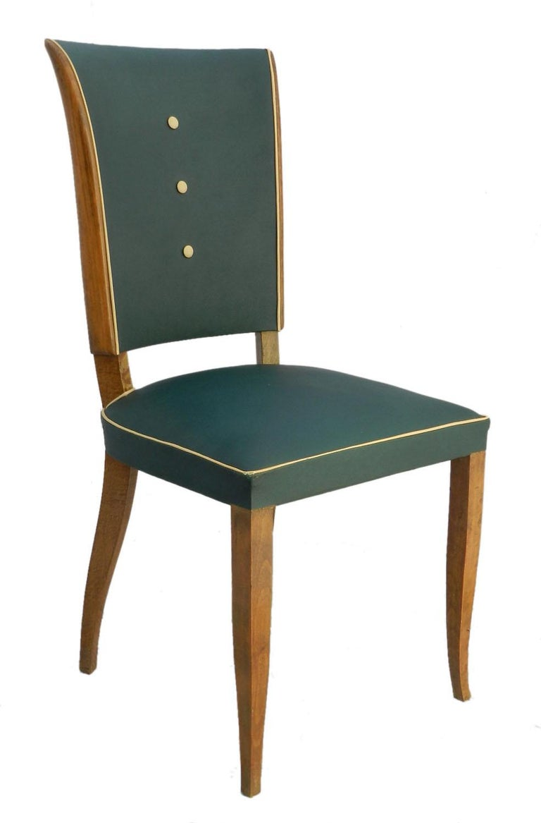 Six Art Deco dining chairs French circa 1930 midcentury Classic Leleu shape chairs Use as are in original vintage condition with minor faults of age and use Alternatively recover and / or customize. Please ask if you would like a very reasonable