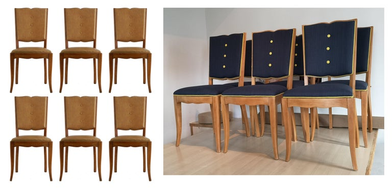 Mid-20th Century Six Art Deco Dining Chairs Use or Recover and / or Customize For Sale