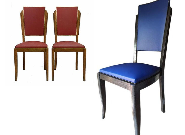 Upholstery Six Art Deco Dining Chairs Use or Recover and / or Customize For Sale