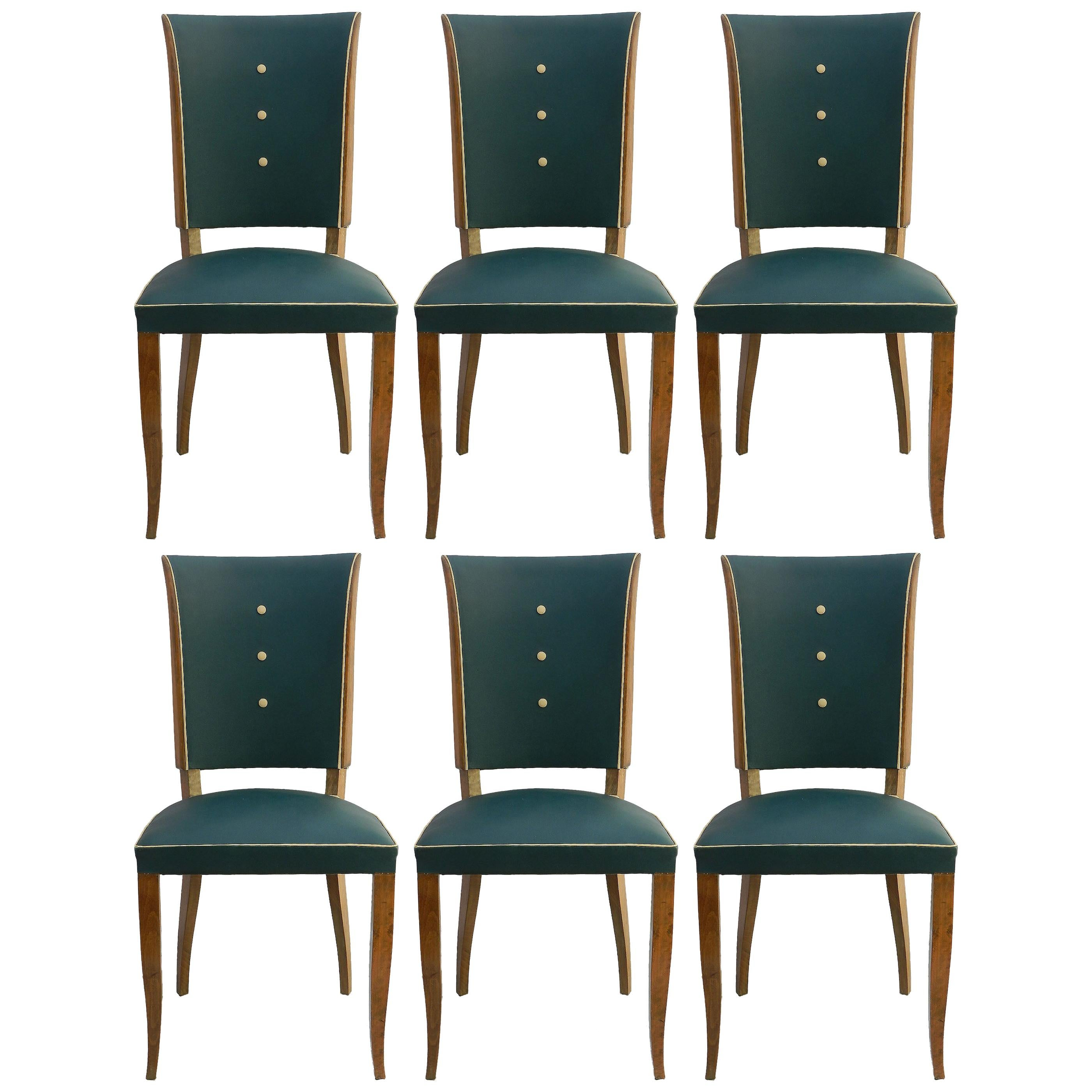 Six Art Deco Dining Chairs Use or Recover and / or Customize