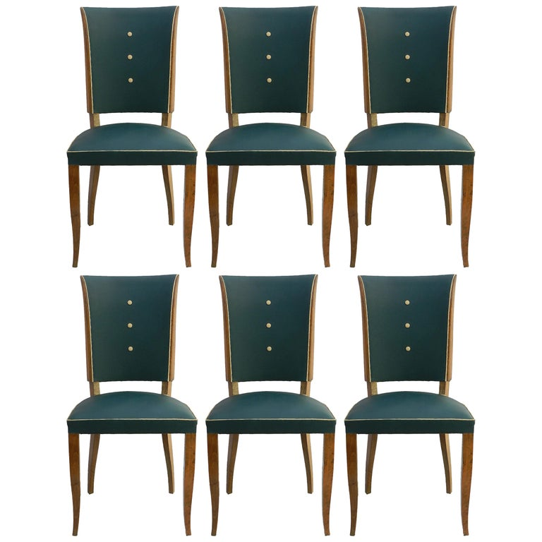 Six Art Deco Dining Chairs Use or Recover and / or Customize For Sale
