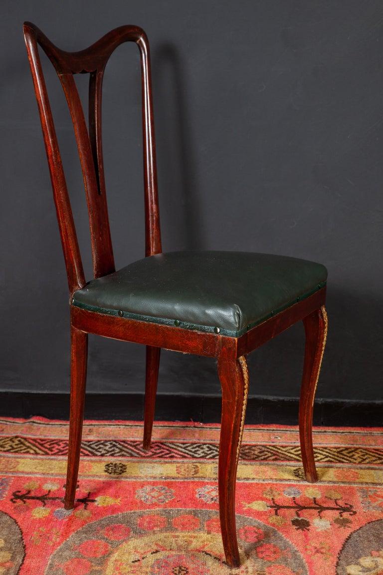 Italian Six Art Deco Dining Room Chairs By Osvaldo Borsani 1940 For Sale