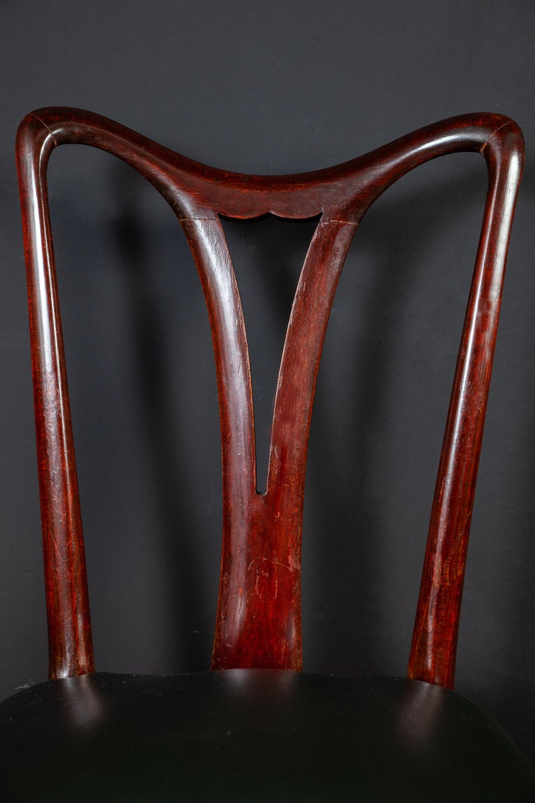 Six Art Deco Dining Room Chairs By Osvaldo Borsani 1940 In Good Condition For Sale In Rome, IT