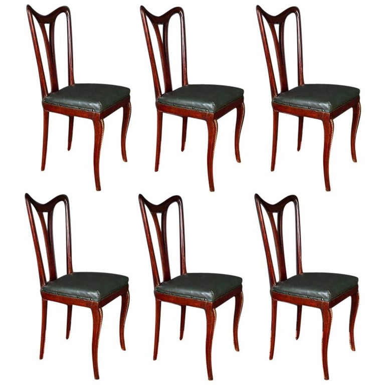 Six Art Deco Dining Room Chairs By Osvaldo Borsani 1940 For Sale