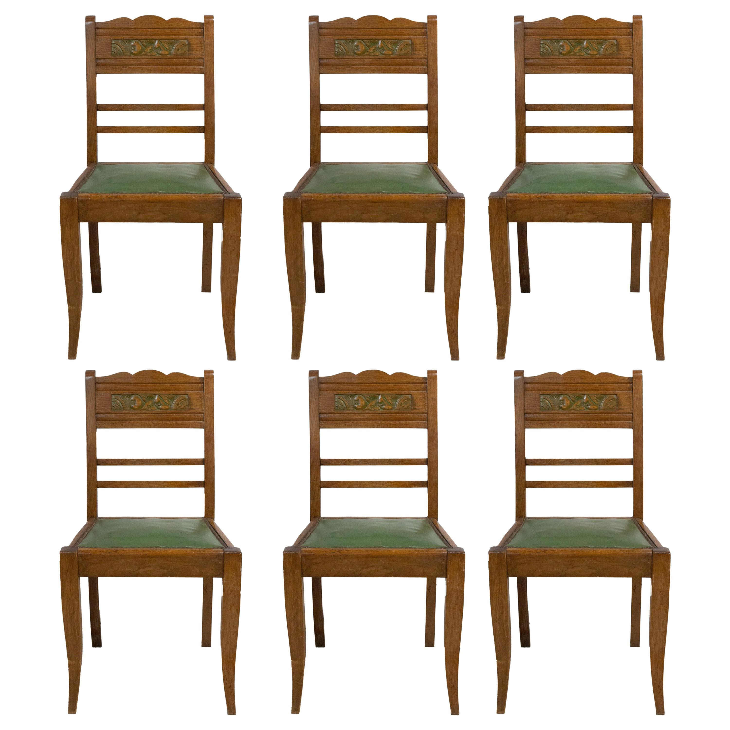 Six Art Deco Green Oak Dining Chairs with Stylised Flowers French, circa 1940