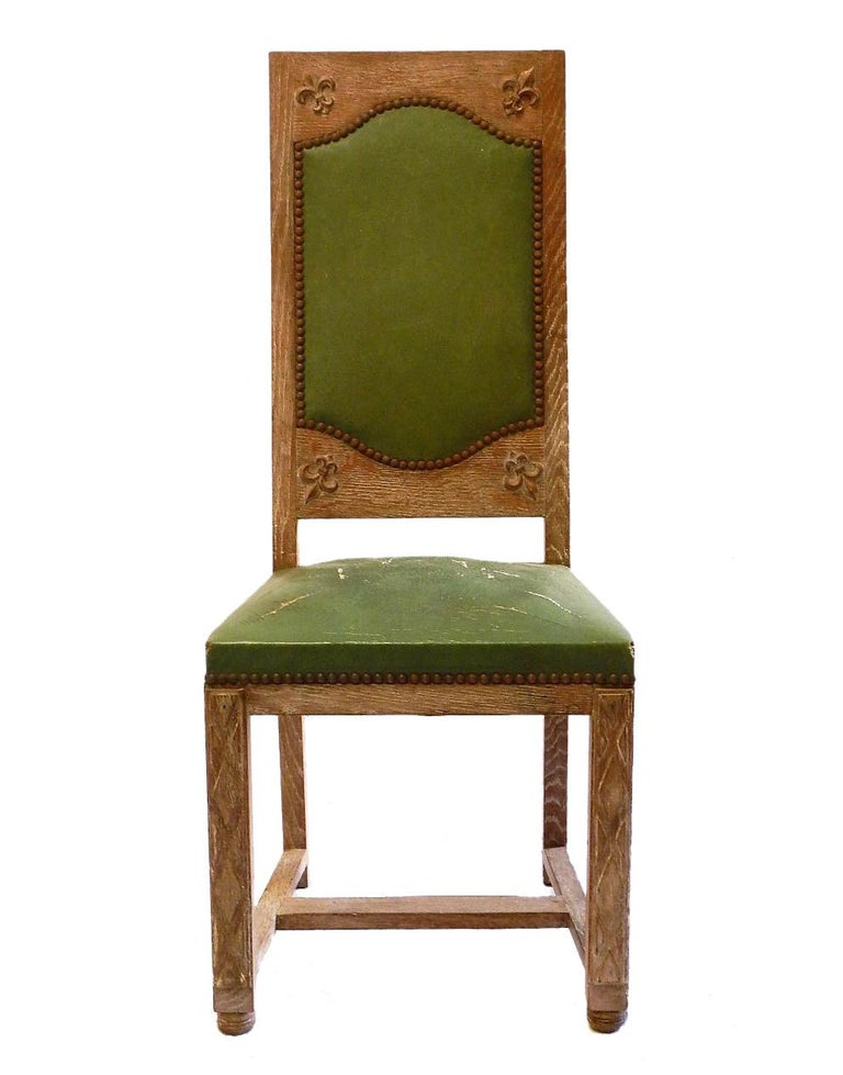 Swell Six Arts And Crafts Dining Chairs French Limed Oak Leather To Recover Uwap Interior Chair Design Uwaporg