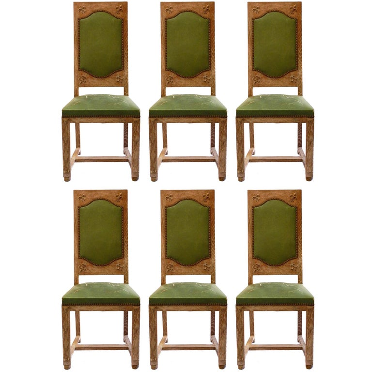 Remarkable Six Arts And Crafts Dining Chairs French Limed Oak Leather To Recover Uwap Interior Chair Design Uwaporg