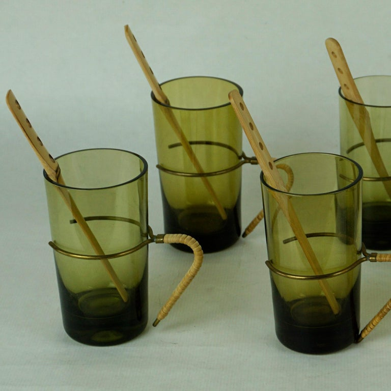 Mid-Century Modern Six Austrian Midcentury green Glasses with Bamboo Stirrers by Carl Auböck For Sale