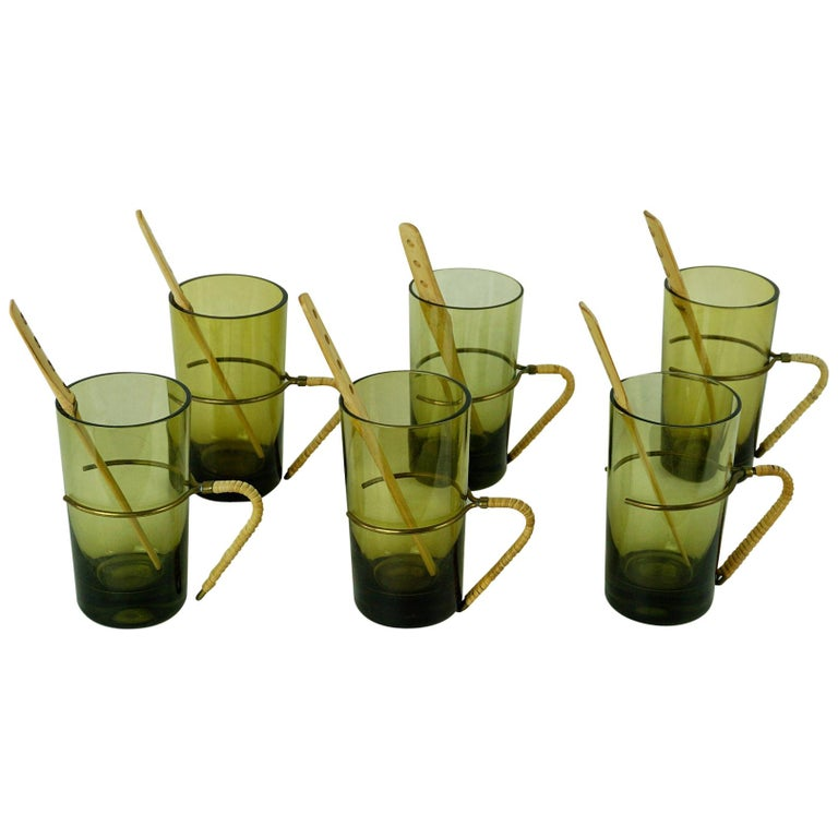 Six Austrian Midcentury green Glasses with Bamboo Stirrers by Carl Auböck For Sale