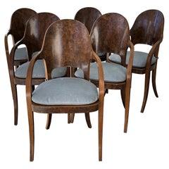 Six Austrian or Italian Walnut Dining Armchairs