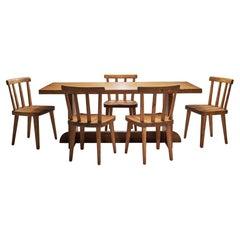 """Six Axel Einar Hjorth """"Utö"""" Dining Chairs with """"Lovö"""" Table, Sweden, 1930s"""