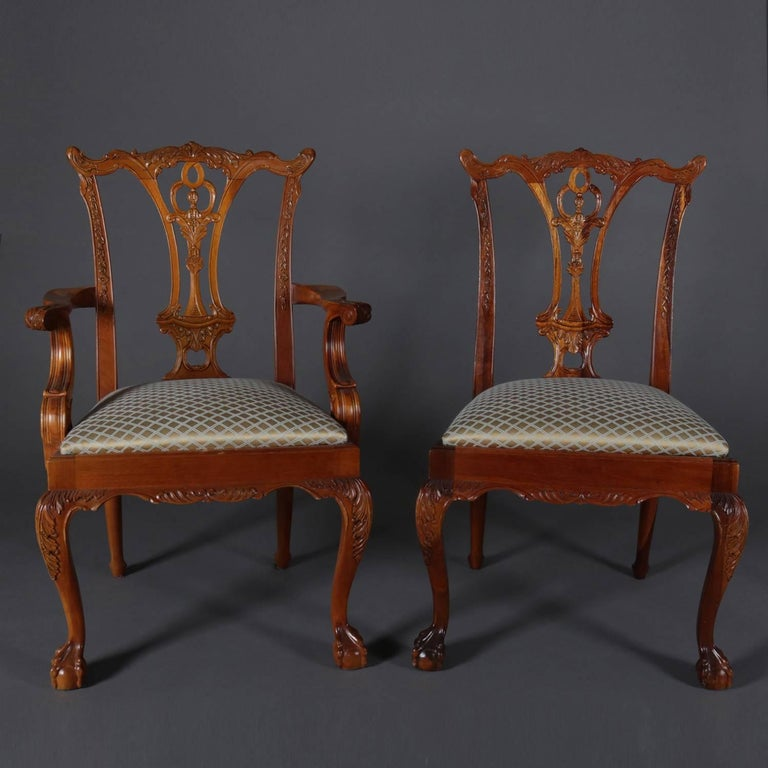 Chippendale Mahogany Dining Room Chairs: Six Baker School Carved Mahogany Chippendale Style Ribbon