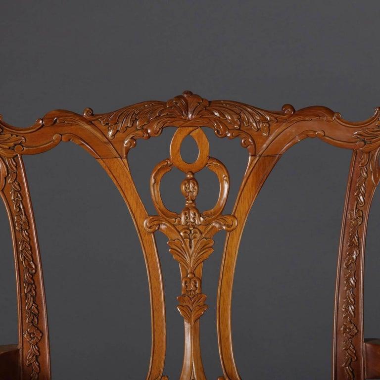 Superb Six Baker School Carved Mahogany Chippendale Style Ribbon Short Links Chair Design For Home Short Linksinfo