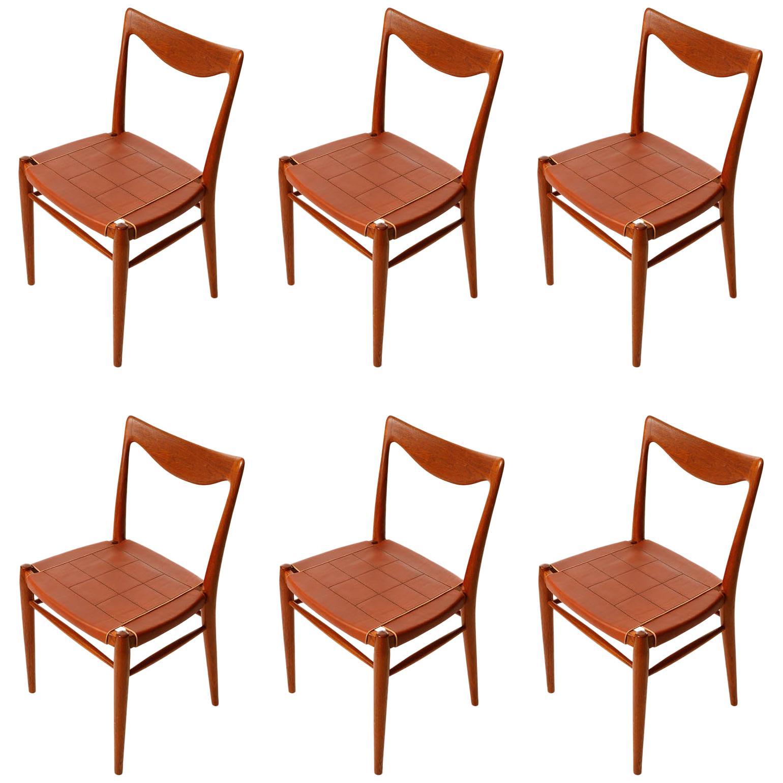 Six 'Bambi' Chairs Rastad & Relling for Gustav Bahus, Cognac Leather Teak, 1950s