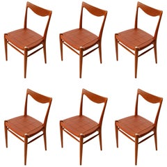 Six 'Bambi' Chairs Rastad & Relling for Gustav Bahus, Cognac Leather Teak, 1950s