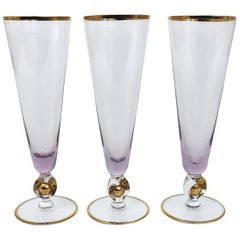 Six Beautiful Danish Lyngby Gold and Purple Champagne Flutes Glasses, 1960s
