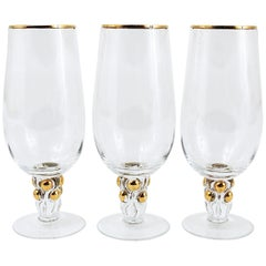 Six Beautiful Danish Lyngby Gold Drinking Glasses, 1960s