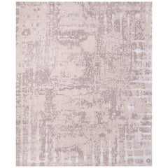 Six Beige - Contemporary Luxury Hand Knotted Wool Tencel Linen Allo Rug