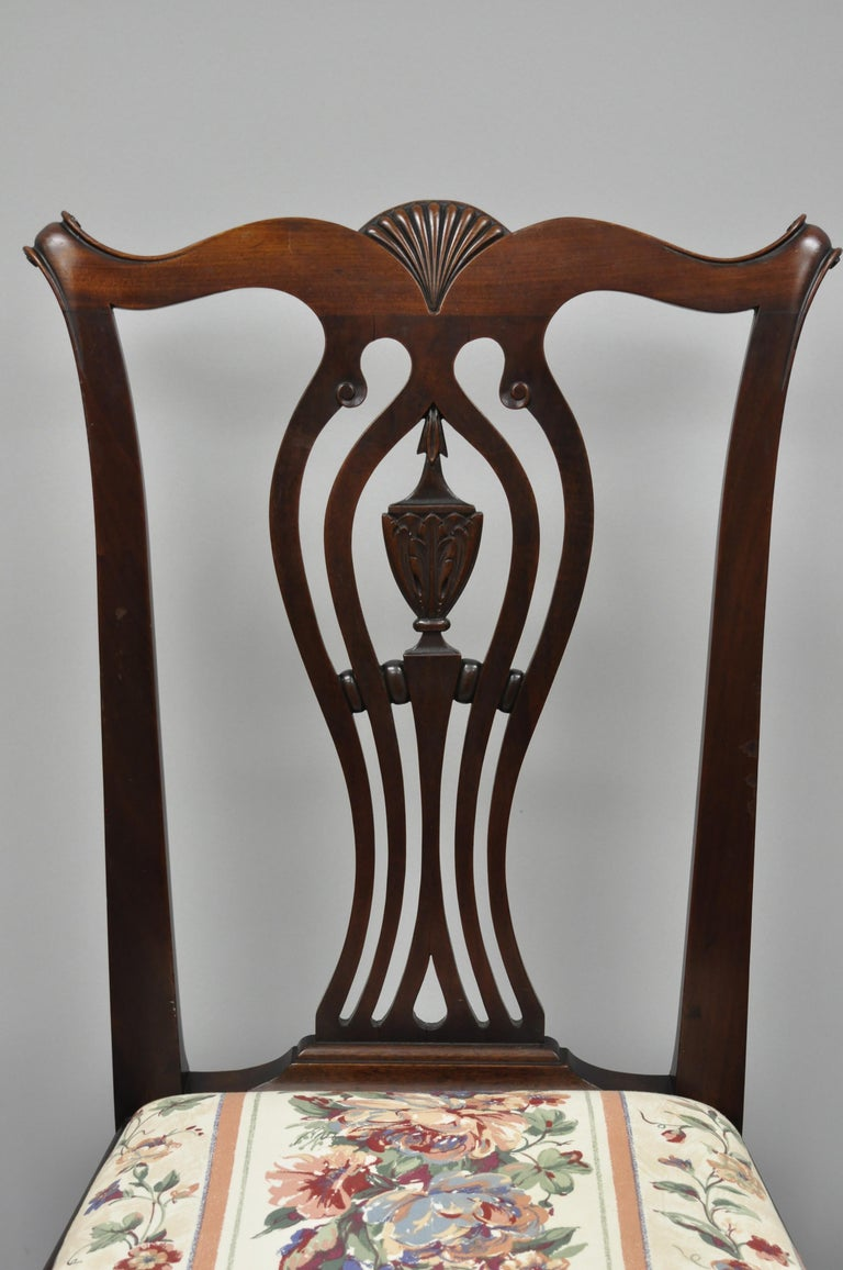 Six Bench Made Carved Mahogany Chippendale Style Ball And