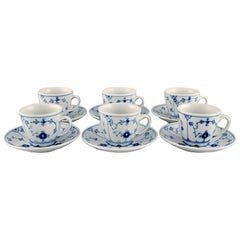Six Bing & Grondahl Blue Fluted Hotel Coffee Cups with Saucers