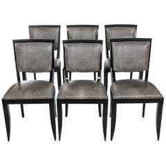 Six Black Art Deco Dining Room Chairs Black-White Raydesign Colored Leather