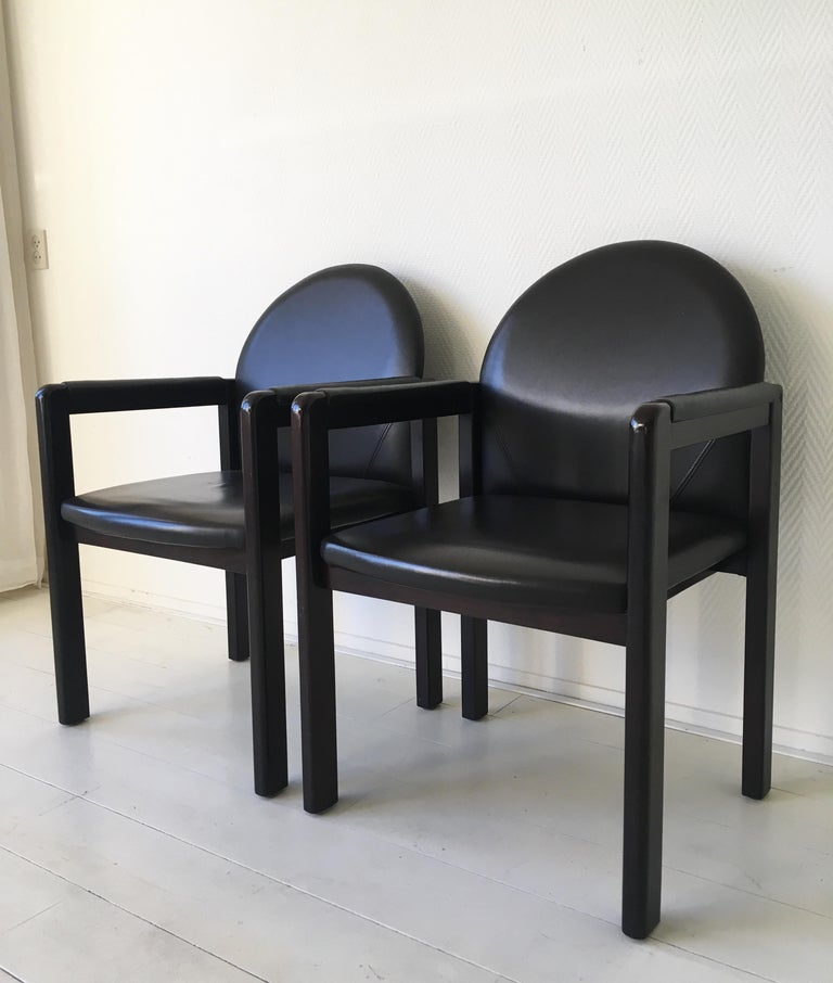 Six Black Leather and Wood Armchairs by Bulo For Sale 4