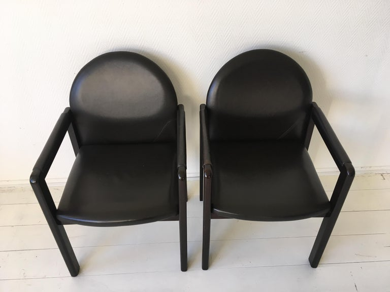 Six Black Leather and Wood Armchairs by Bulo For Sale 5