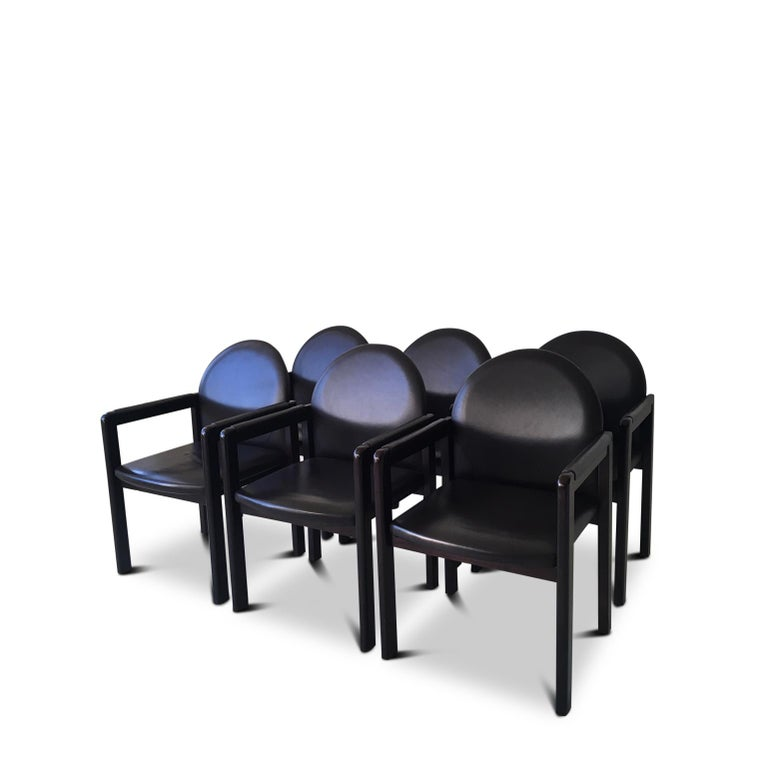 Post-Modern Six Black Leather and Wood Armchairs by Bulo For Sale