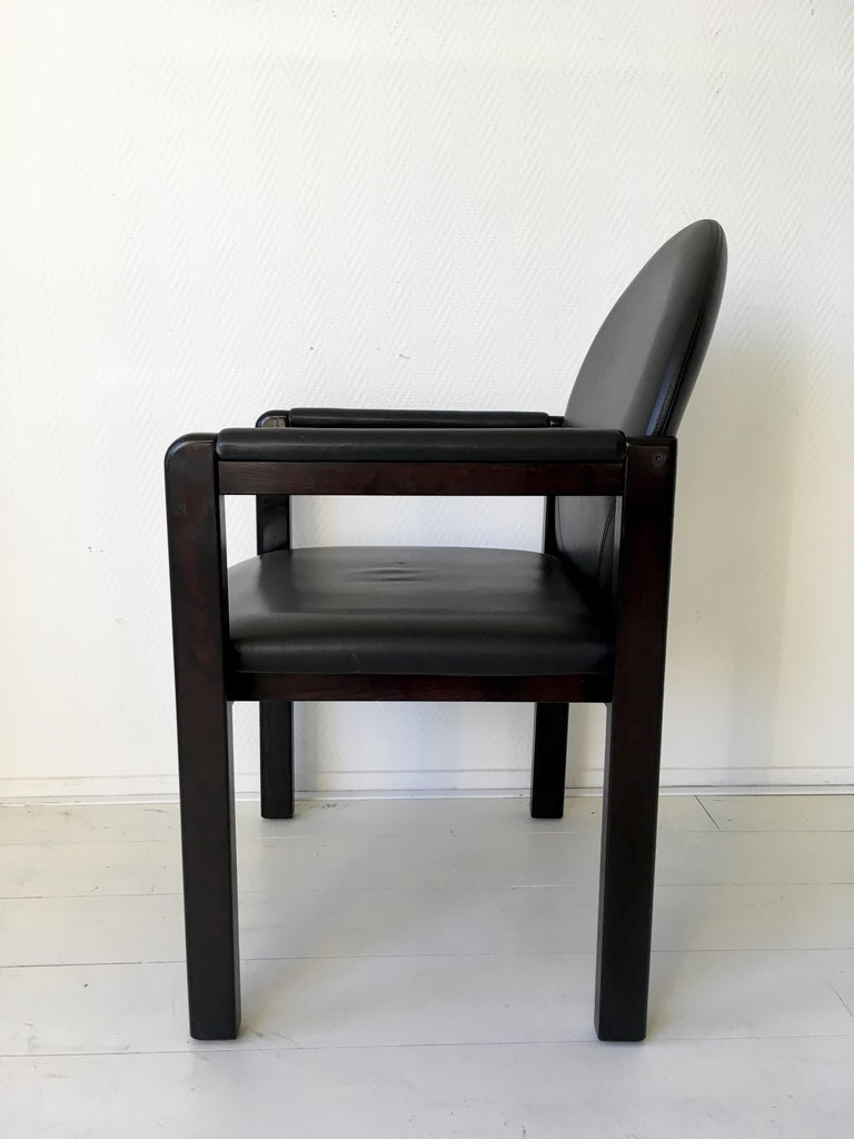 Six Black Leather and Wood Armchairs by Bulo For Sale 8
