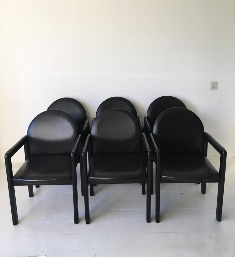 Belgian Six Black Leather and Wood Armchairs by Bulo For Sale