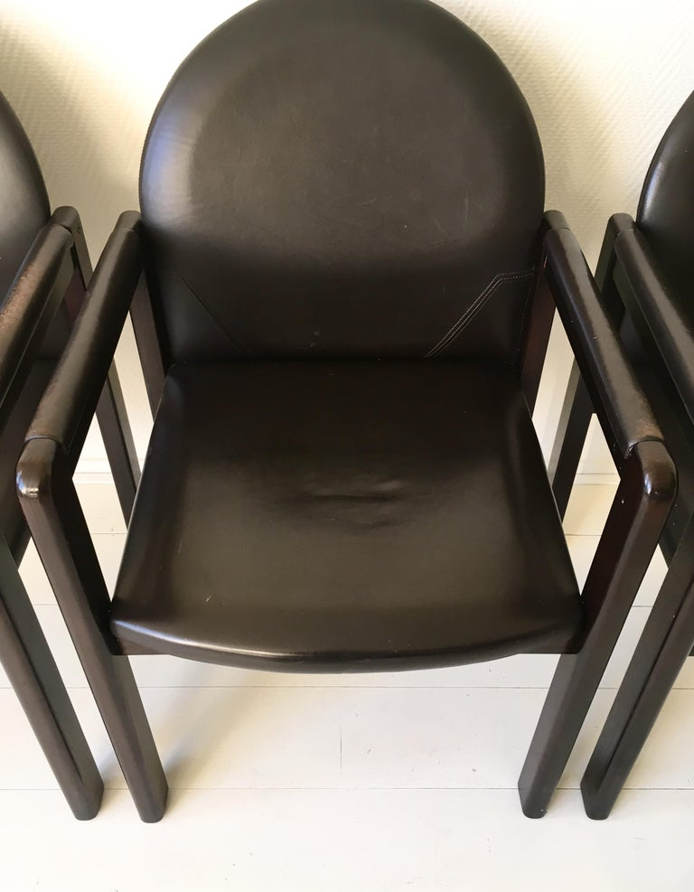 Six Black Leather and Wood Armchairs by Bulo For Sale 10