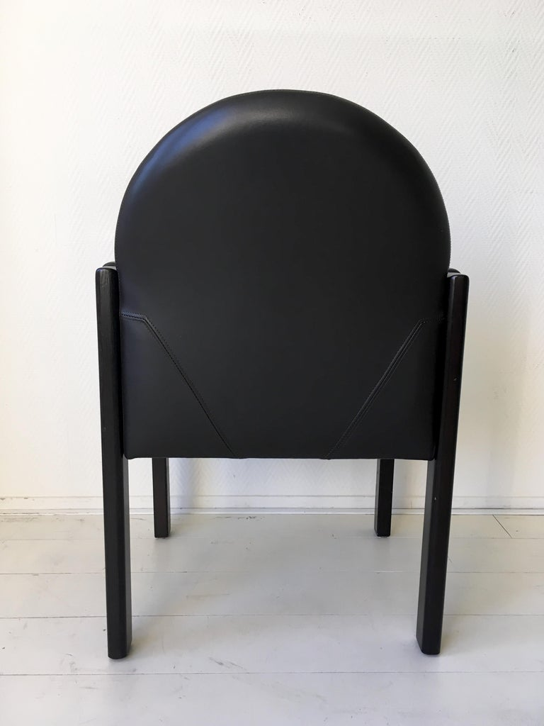 Six Black Leather and Wood Armchairs by Bulo For Sale 9