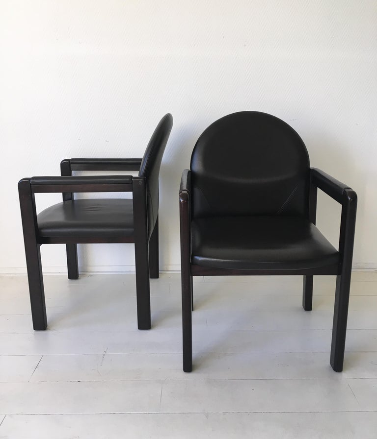 Six Black Leather and Wood Armchairs by Bulo For Sale 2