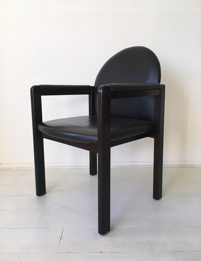 Six Black Leather and Wood Armchairs by Bulo For Sale 7