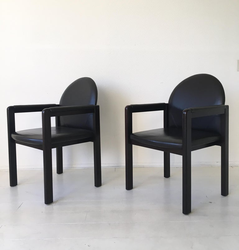 Six Black Leather and Wood Armchairs by Bulo For Sale 3