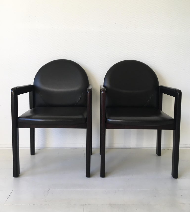 Six Black Leather and Wood Armchairs by Bulo For Sale 1