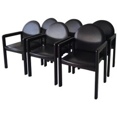 Six Black Leather and Wood Armchairs by Bulo