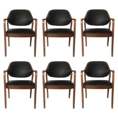 Six Black Leather Bentwood Armchairs by Don Petitt for Knoll