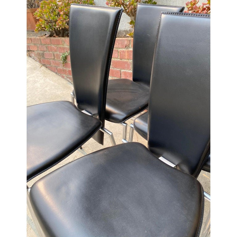 Hand-Crafted Six Black Leather and Chrome Italian Modern Dining Chairs by Arper For Sale