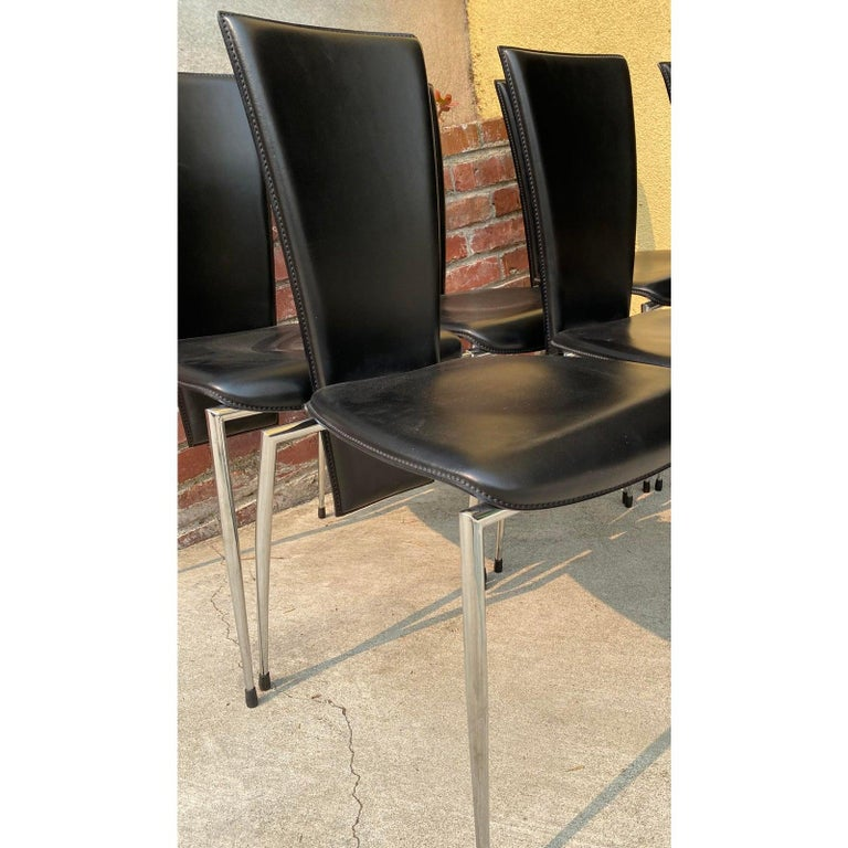Six Black Leather and Chrome Italian Modern Dining Chairs by Arper In Good Condition For Sale In San Francisco, CA