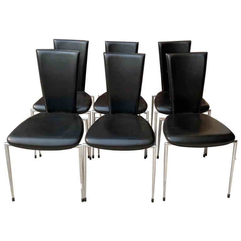 Six Black Leather and Chrome Italian Modern Dining Chairs by Arper For Sale