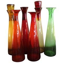 Six Blenko Bottles