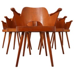 Six Blonde Bentwood Armchairs by Oswald Haerdtl for Ton CZ 1960s