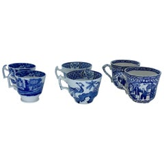 Six Blue and White Espresso Cups